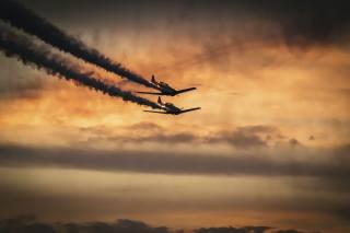 самолеты, дым, небо