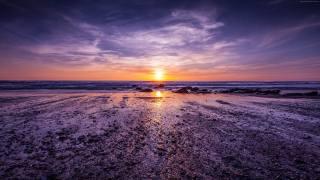 Атлантический океан, Англия, берег, закат, облака