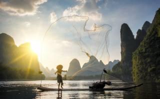 рыбак, рыбалка, горы, красиво
