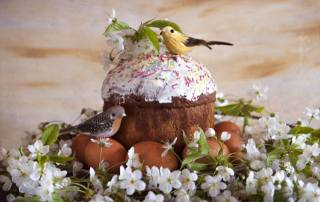 spring, branches, flowers, cherry, holiday, Easter, Easter, Cake, cakes, figures, birds