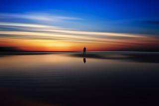 krajina, západ slunce, nebe, odraz