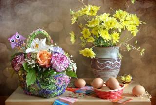 holiday, Easter, Easter, basket, vase, flowers, EGGS, decoration, decor, toy, Owl