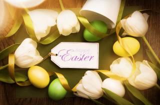 holiday, Easter, flowers, tulips, tape, EGGS, eggs, карточка