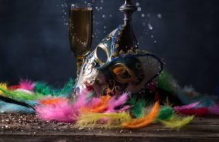 holiday, masquerade, feathers, mask, Glass, bokeh