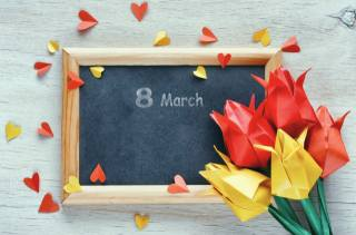 March 8, holiday, Board, flowers, tulips, origami