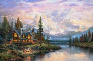 Томас Кинкаде, живопись, горный домик
