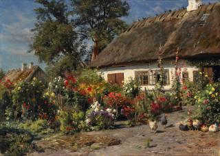 peder monsted, дом, хижина, куры, цветы, 1919