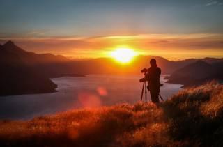 сонце, гори, пагорб, захід, хмари, озеро, фотограф