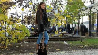 дівчина, парк, гітара