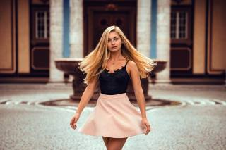 девушка, юбка, блондинка, Джанин, Anatoli Oskin