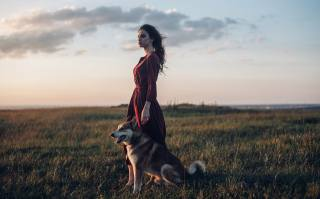 девушка, на природе, собака, фото, Roma Roma
