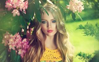 блондинка, лицо, макияж