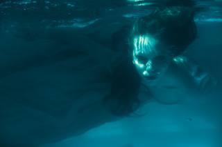 девушка, лицо, под водой