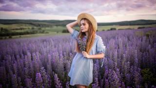 девушка, на природе, поле, цветы