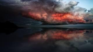 bouře, červená, mraky