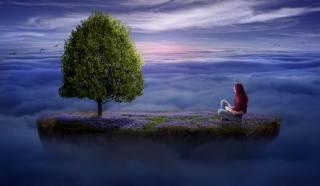 женщина, дерево, остров
