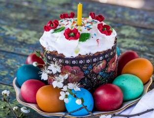 Easter, decor, cherry, Maki, Candle, EGGS, cake