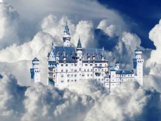 hrad, Neuschwanstein, nebe, mraky, фотоманипуляция