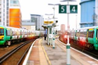 поїзда, платформа, вокзал, лондон