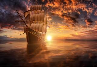 Manuel Roger, 3d, grafika, moře, loď, plachetnice, nebe, mraky, slunce, západ slunce, boke