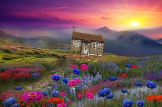 3d, Рендеринг, пейзаж, горы, дом, солнце, цветы