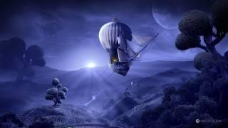 шар, небо, деревья, корабль
