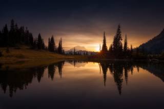 Маунт-Рейнир, природа, красиво, озеро, дерева, захід
