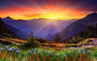 фото, гори, природа, промені, сонця