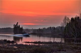 природа, краєвид, озеро, Ліси, катер, вечір, захід