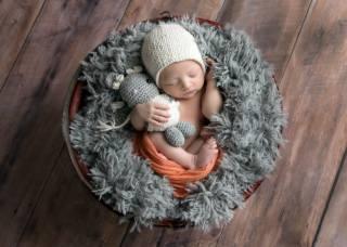 child, baby, baby, basket, fur, sleep, toy