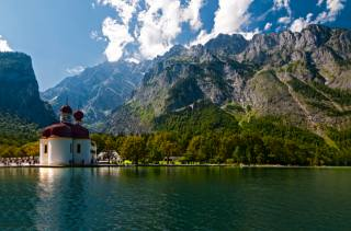 Німеччина, баварія, Kоnigsee lake, природа, краєвид, озеро, храм, гори, небо, хмари