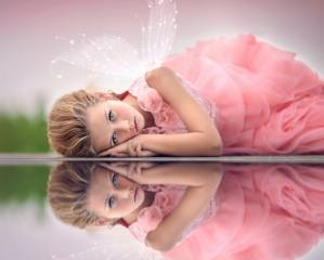 Julia Altork, child, girl, dress, outfit, wings, water, reflection