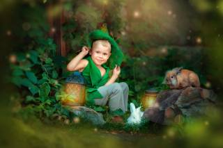animals, nature, stone, the tale, boy, lights, costume, rabbits, child