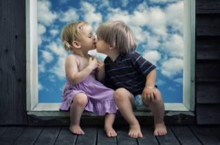 children, kids, Board, window, the sky, kiss, boy, girl, creative