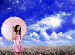 girl, in pink, field, flowers, the sky, clouds, spring