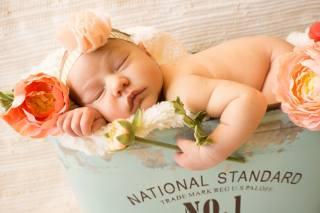 child, baby, girl, sleep, box, blanket, fur, flowers