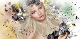 3d, графика, девушка, блондинка, бабочки, цветы, венок, капля, слеза, перья