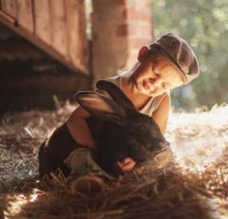 child, boy, cap, Animal, rabbit, friends, straw, bokeh