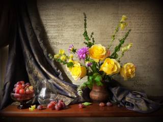 still life, shelf, vase, bouquet, flowers, rose, Dahlia, mint, blind, fabric, the vase, berries, grapes, pitcher, water
