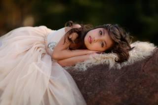 девочка, ребёнок, платье, мех, ворс
