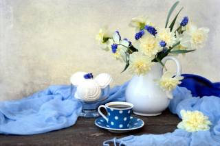 table, Cup, fabric, vase, flowers, daffodils, dessert