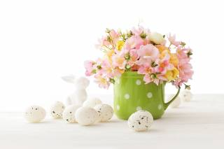 Easter, Easter, Cup, flowers, EGGS, figure, rabbit, holiday