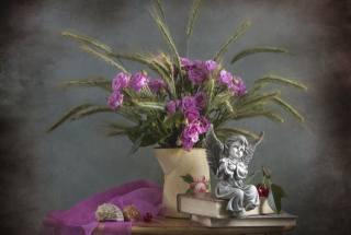 кувшин, цветы, розы, колосья, книги, ракушки, фигурка, статуэтка, ангел