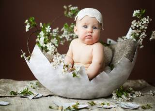 child, baby, branches, flowers, cherry, the shell, egg, beanie