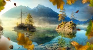 carsten bachmeyer, Германия, природа, осень, пейзаж, горы, озеро, скалы, деревья, листья