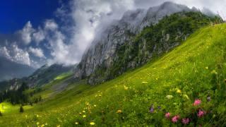 гора, склон, облока, природа