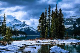 winter, Canada, photo, David Dai, the lake, island, mountains