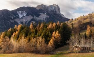 осінь, Листопад, гори, доломіти, дерева, будиночок