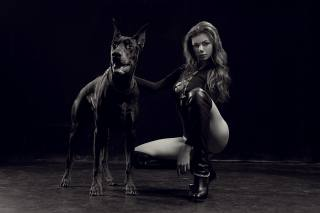 girl, model, posing, Doberman, dog, михаил базаров