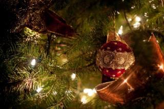свято, Іграшки, зірка, Новий рік, куля, Різдво, стрічка, ялинка, прикраси, лампочки